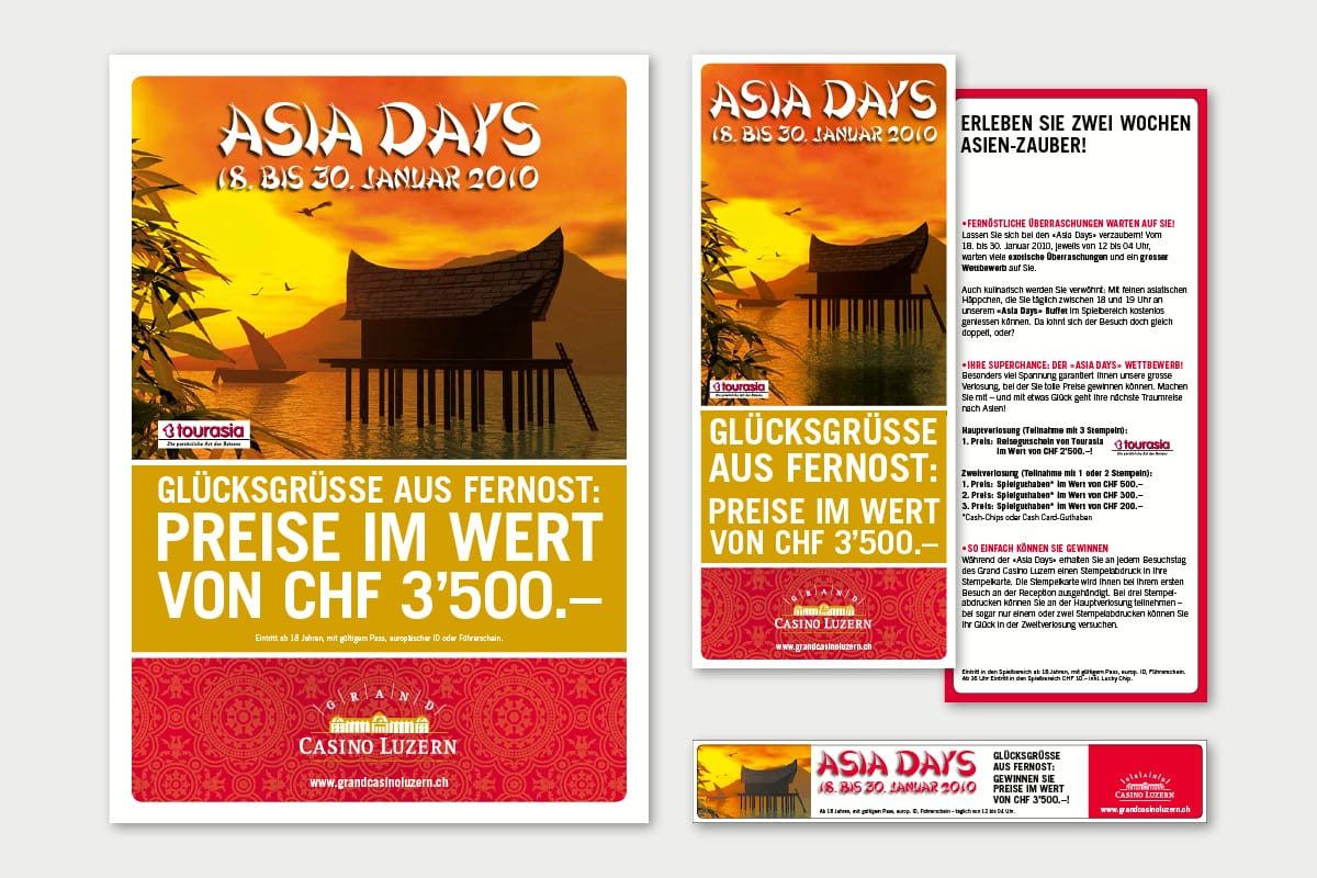 Plakat, Flyer und Inserat «Asia Days» Grand Casino Luzern