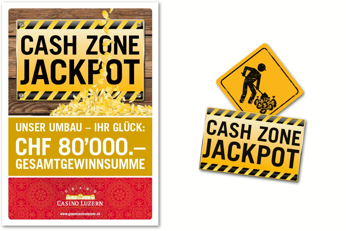 Plakat und Logo «Cash Zone Jackpot» Grand Casino Luzern