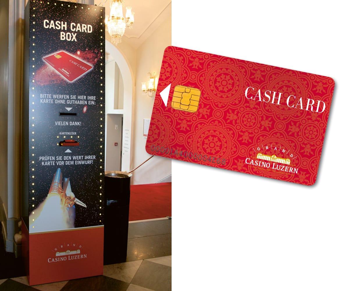 Cash Card-Box mit Cash Card-Karte Grand Casion Luzern