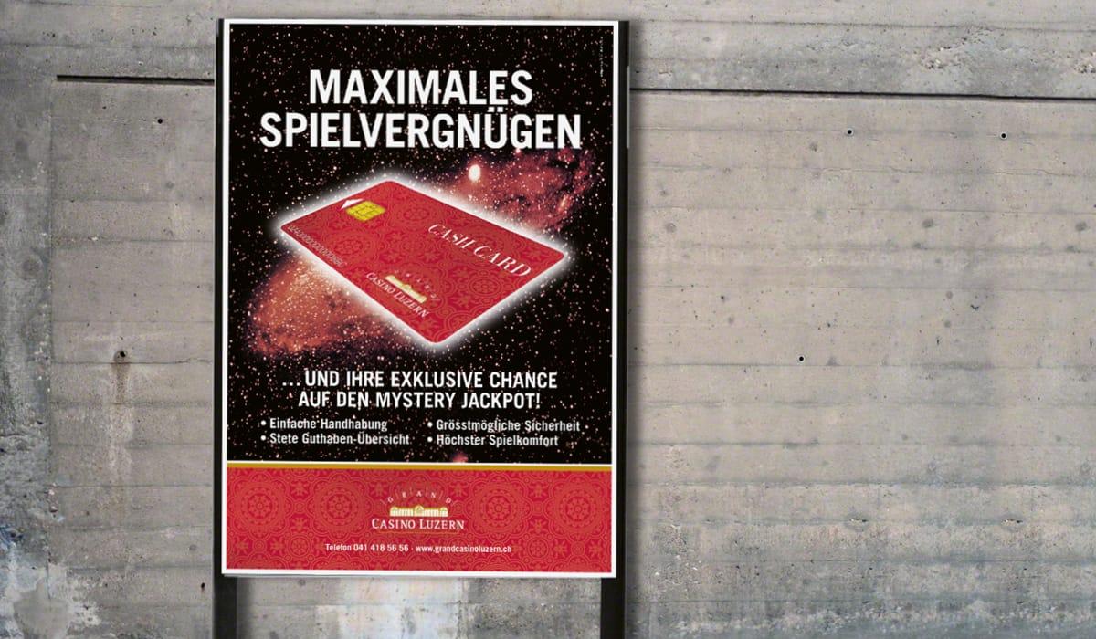Plakat Cash Card-Kampagne Grand Casino Luzern