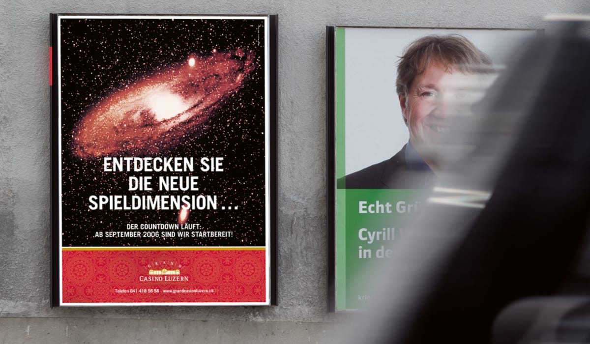 Teaser-Plakat Cash Card-Kampagne Grand Casino Luzern