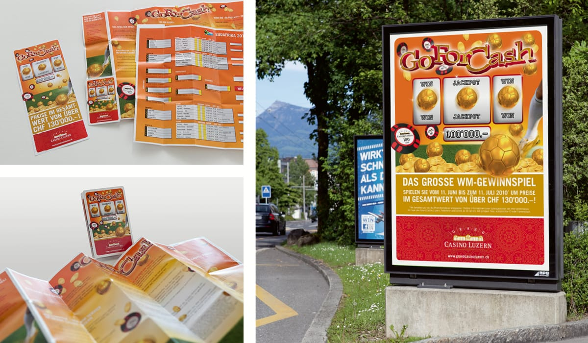 Plakat und Flyer «Go for Cash» Grand Casino Luzern