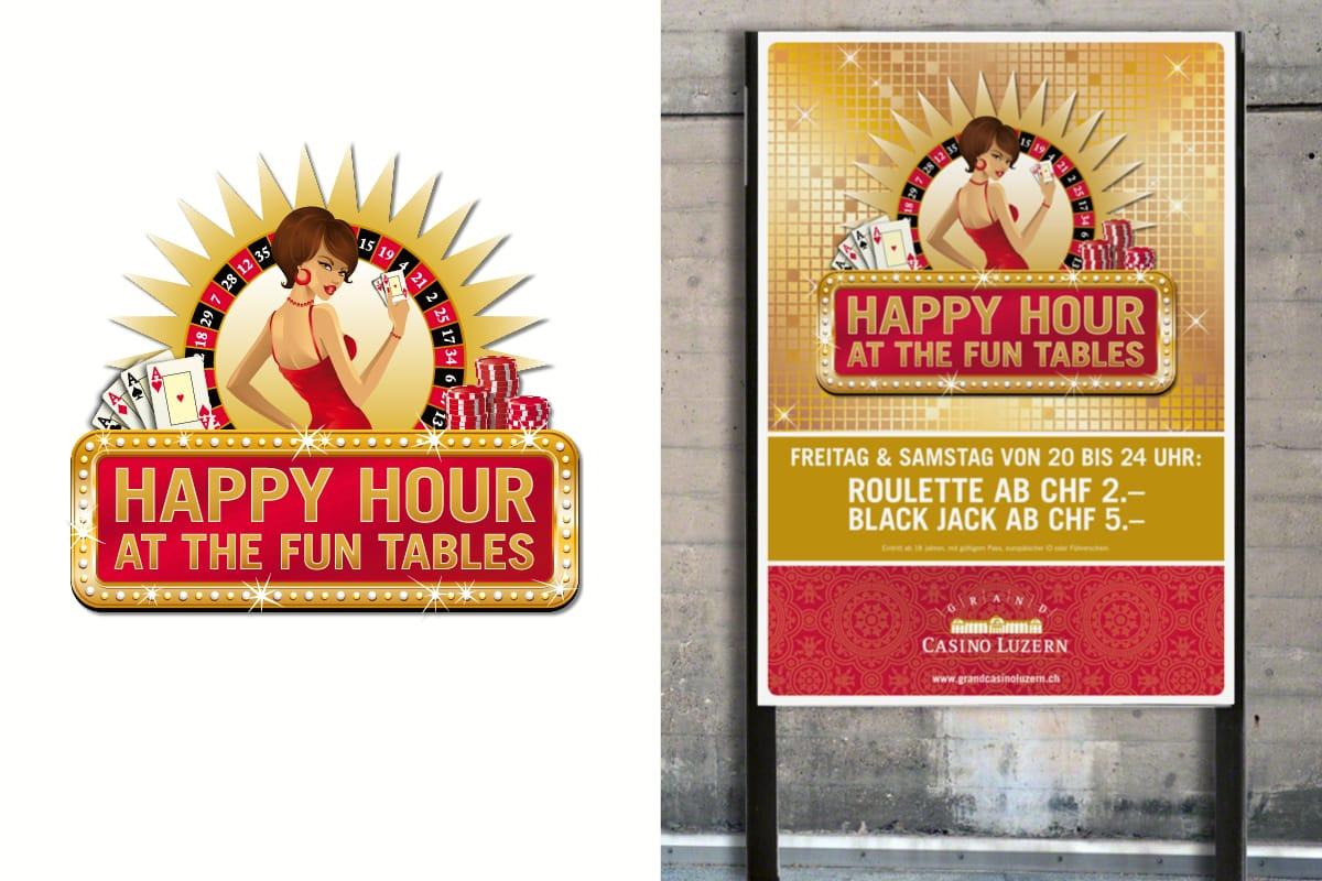 Logo und Plakat «Happy Hour» Grand Casino Luzern