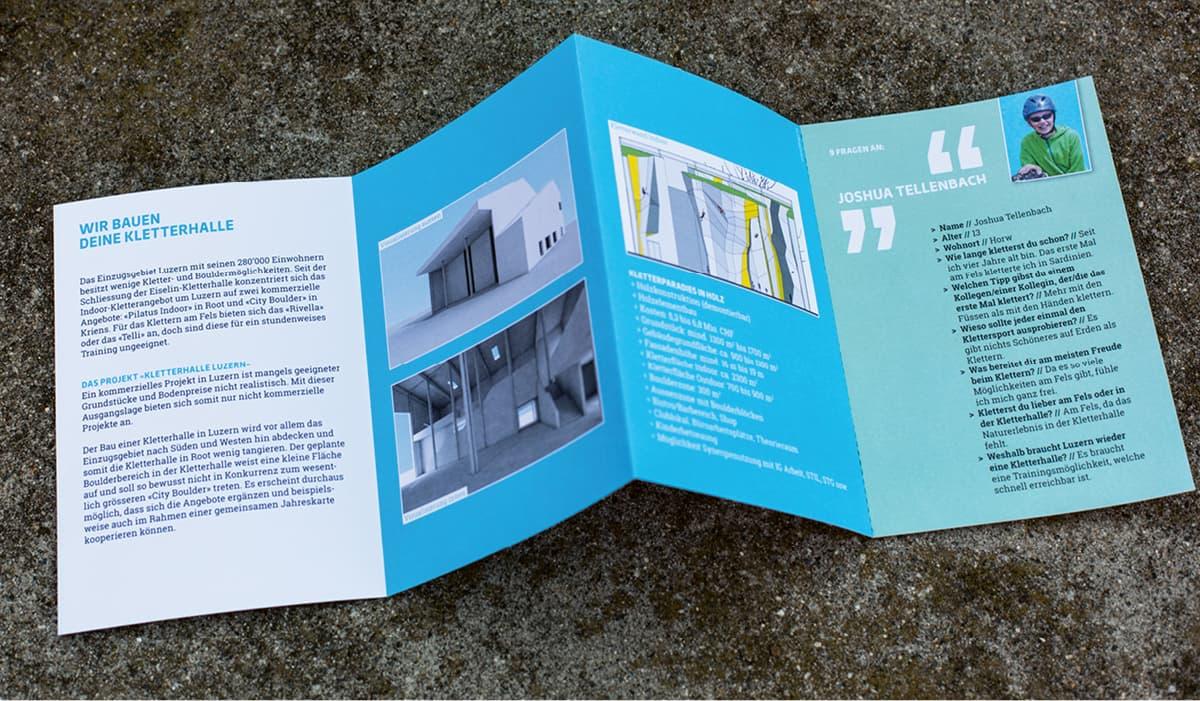 Flyer offen «Eine Kletterhalle für Luzern» IGKL