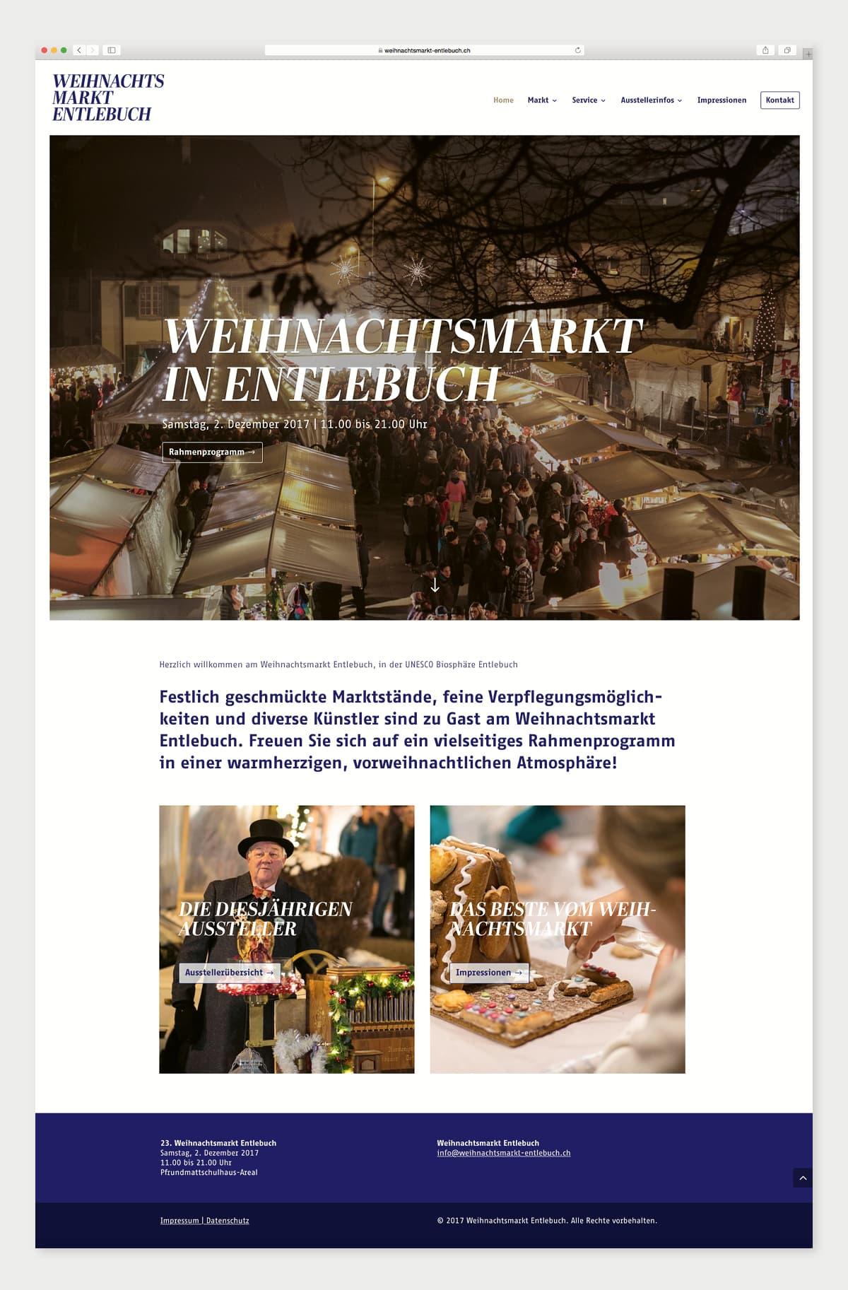Website Weihnachtsmarkt Entlebuch Home-Seite