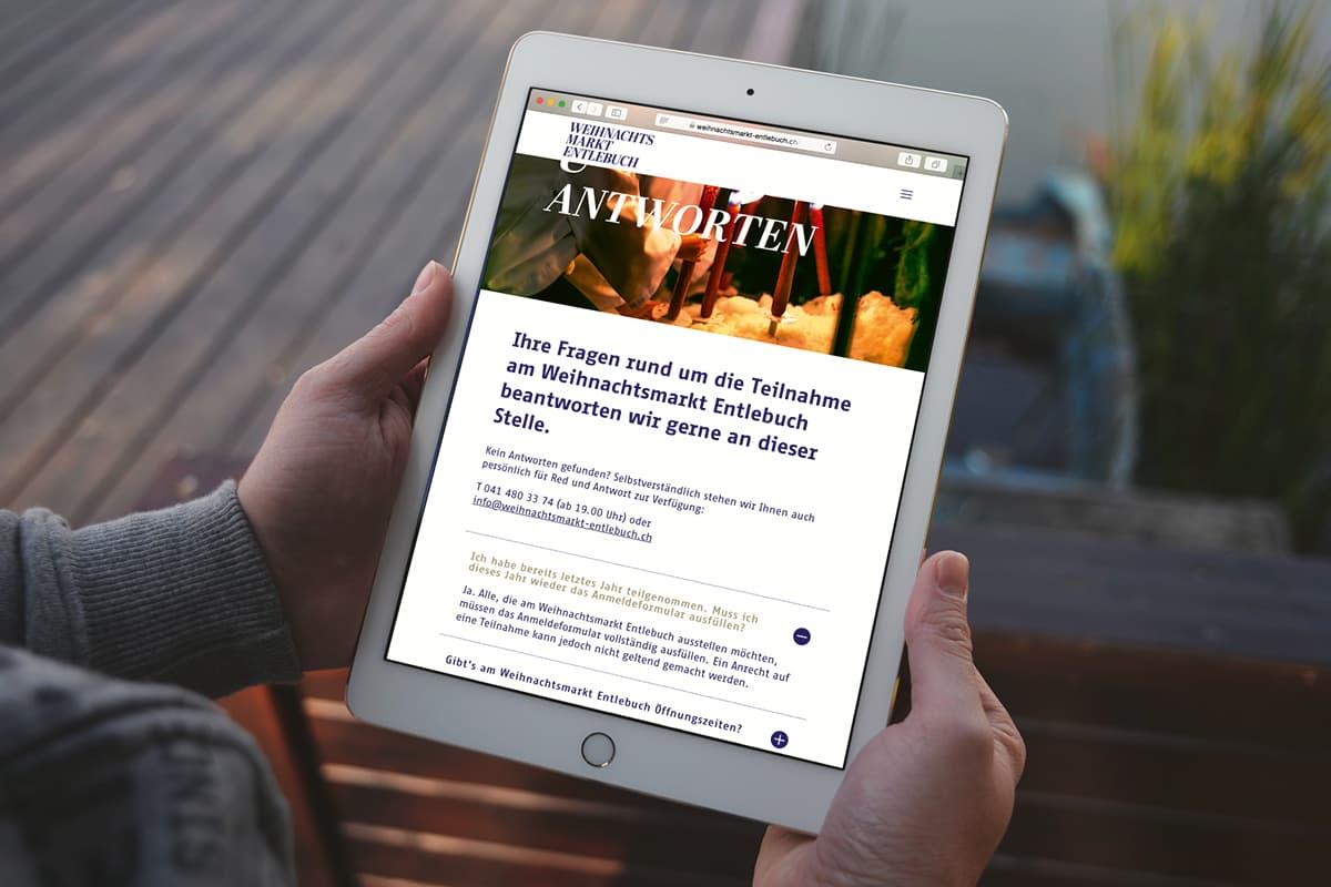 Website Weihnachtsmarkt Entlebuch auf Tablet