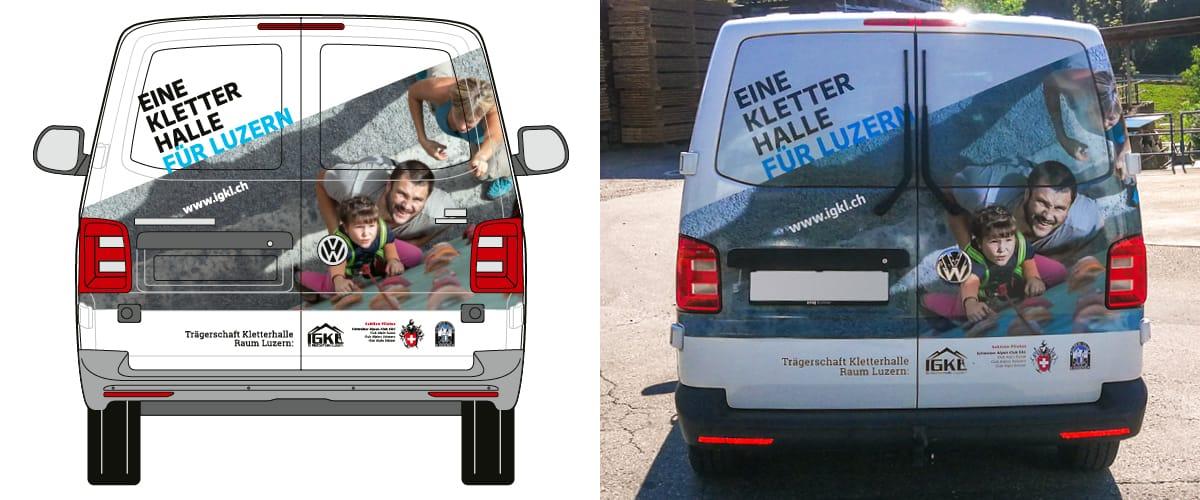 IGKL Fahrzeugbeschriftung VW-Bus Heck