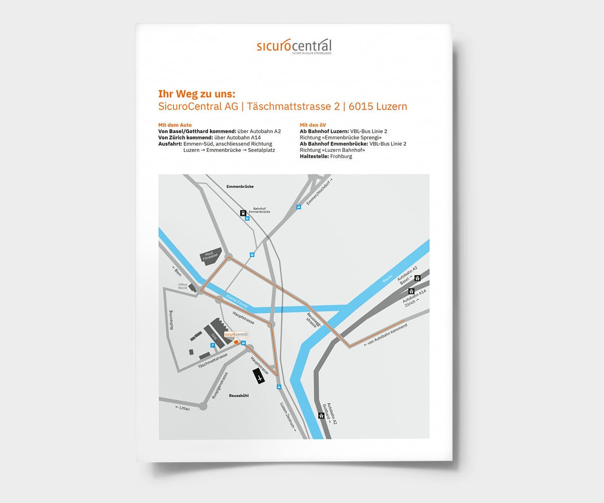 SicuroCentral Anfahrtsskizze für PDF Website